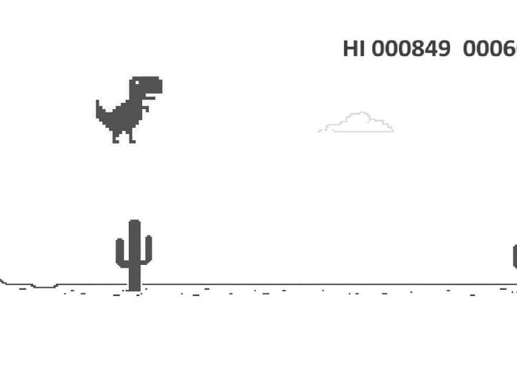 Running T-Rex  Este entretenido minijuego está disponible cuando perdemos el acceso a nuestra conexión de internet, pero no por ello para disfrutarlo un momento hay que desconéctanos, para poder acceder a él,  ingresa la plabra T-rex y aparecerá el juego en las búsquedas de Google, también puedes descargarlo para Smartphone de la PlayStore.